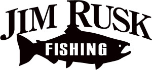a carved logo says Jim Rusk Fishing and an outline of a fish