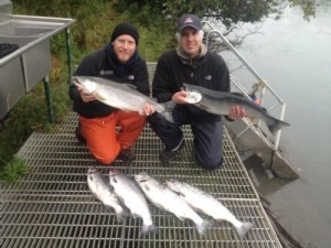 Kenai Fishing guide clients on dock showing the fish they caught